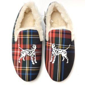 🆕 JCrew tartan plaid furry slippers w/ Dalmatian